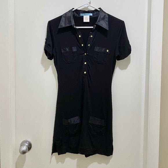 Marciano Silk Button Down Mini Dress Black Gold S